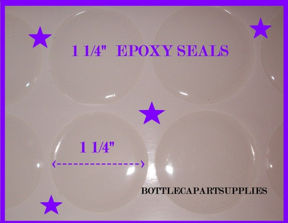 """50 pcs  1 1/4""""  Clear Round Dome Epoxy Adhesive CIrcle Stickers"""