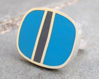 Resin Ring - Silver Resin Ring - Blue Resin Sterling Silver Ring - Silver Resin Jewelry -Turquoise Blue and Charcoal Grey Line - US Size 7.5