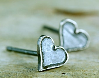 Heart Post Earrings- Tiny Heart Studs - Silver Heart Studs - Sterling Heart Post Earrings - Etched Small Heart Posts - Little Heart Earrings