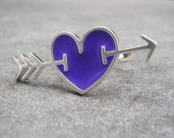 Purple Heart Ring- Heart and Arrow Ring - Cupid's Arrow Ring - Silver Heart Arrow Ring - Purple Resin Sterling Silver Ring - US Size 8.5