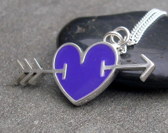Purple Heart Necklace.  Resin and Sterling Silver - Shot Through the Heart