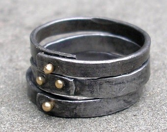 Gold Steel Rings - Forged Steel Stacking Rings - 18 KT Gold Steel Rings - Riveted Steel Rings - Blacksmith Jewelry - Riveted Stacking Rings