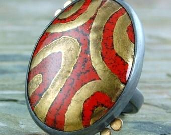 Enamel Ring - Red Enamel Ring - Enamel Sterling Silver Ring - Red Enamel 24 KT Gold, Silver Ring - Red Enamel and18 KT Gold - US size 6