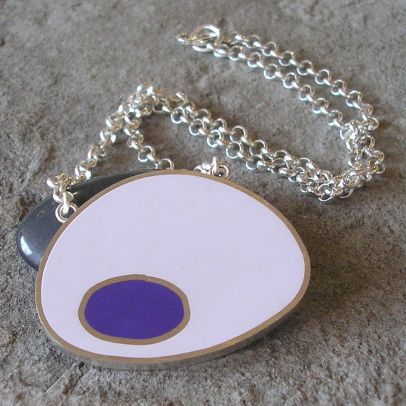 Purple Resin Necklace- Bright Purple and Lavender Pod Pendant with Sterling Silver