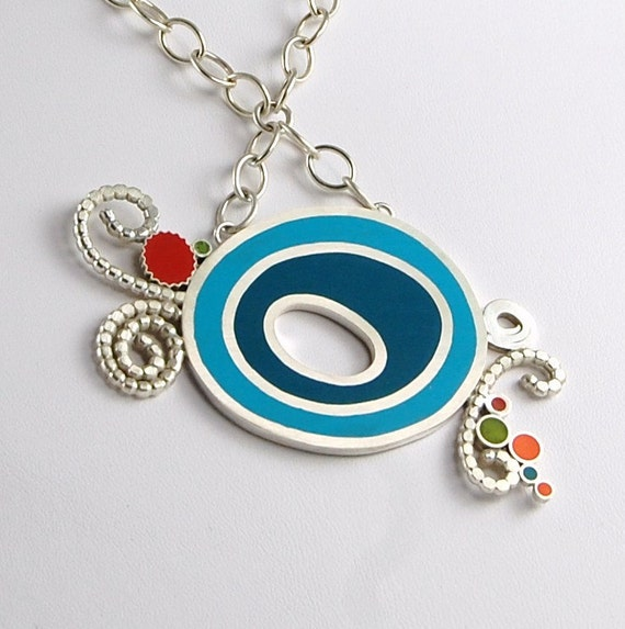 Resin Necklace Blue Resin Necklace Resin Sterling Silver