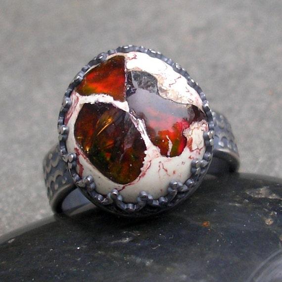 Fire Opal Ring - Opal Ring - Mexican Fire Opal Ring - Fire Opal Sterling Ring - Opal Sterling Silver Ring - Fancy Bezel Ring - US size 7.5