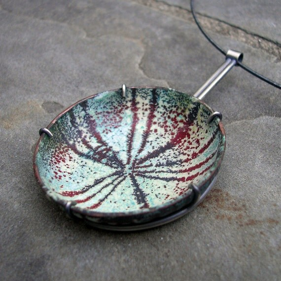 Enamel Pendant-  Enamel Silver Necklace - Teal Blue Enamel Necklace with Red, Mint Green - Sgraffito Enamel Necklace - Enamel Silver Jewelry