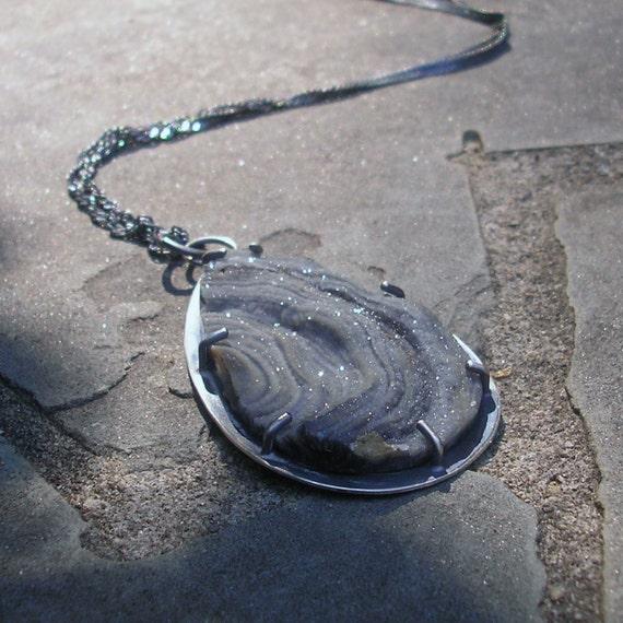 Drusy Necklace - Grey Natural Druzy Necklace - Natural Drusy Silver Necklace - Sterling Silver Drusy Pendant - Large Teardrop Drusy Necklace