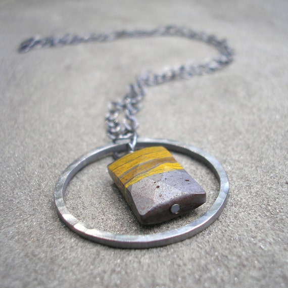 Hammered Sterling Silver Pendant with Faceted  Iron Pyrite Jasper