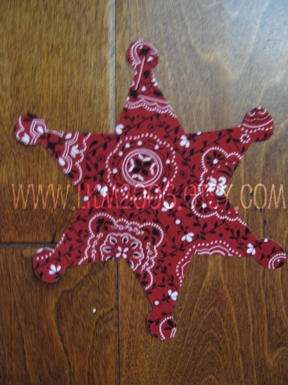 Sheriff Badge Iron On Applique, Add An Initial for Free, You Choose Fabric