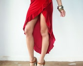 80's Vintage Red Velvet Fishtail Dress / Ruffle Hi Low Hem / Spaghetti Strap