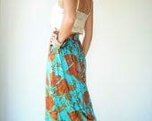 1970's 70's Vintage Velvet Bright Turquoise and Rust Floral Print High Waist Maxi Skirt