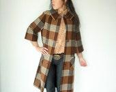 Vintage 60's Brown and Cream Plaid Peter Pan Collar Wool Winter Coat
