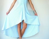 Vintage 70's Powder Blue Backless Plunging Origami Halter Hi Low Maxi Party Fishtail Dress