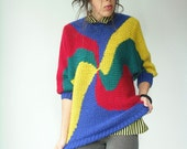 Vintage 80's Primary Colors SWIRL Cyclone Knit Statement Sweater / Dolman Sleeve Jumper