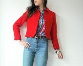 Vintage Bright Lipstick Red PENDLETON Jacket Crop Blazer Wool Small