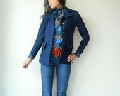 70's Vintage Navy Blue MILITARY Nautical Sailor Epaulette Coat Jacket with Gold Crest Buttons