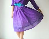 70's Vintage Grape Purple Floral Paisley SCARF Print Dress Pleated Poet Sleeve Full Skirt Midi
