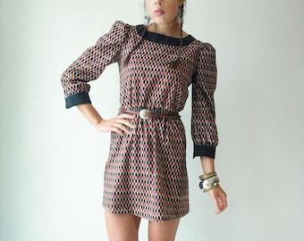 Vintage 70's Diamond Harlequin Print MOD Mini Dress Puff Sleeve