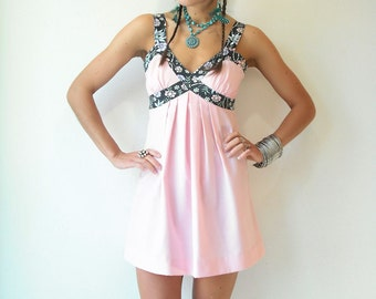 Vintage 70's Festival Powder Pink Boho Mini Dress / Floral Tank Straps / Pleated Waist
