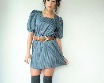 Vintage 80's Violet Purple and Turquoise Striped Mini Dress Puff Sleeves Square neck