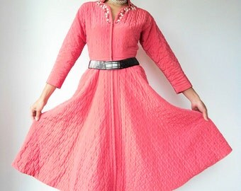 Vintage 50's Bright WATERMELON Pink Quilted Princess House Coat Robe with Beaded Sequin Rhinestone Neckline