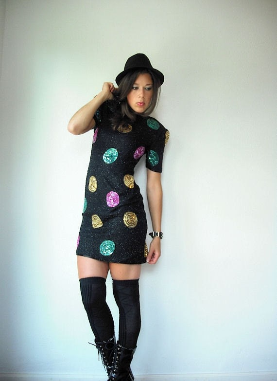 80's Mini Silk Sequin Polka Dot Party Beaded Black LBD Dress