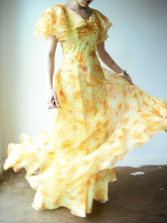 Vintage 60's CITRUS SUNSHINE Floral Ruffle Chiffon Flowy Long Party Gown Maxi Dress