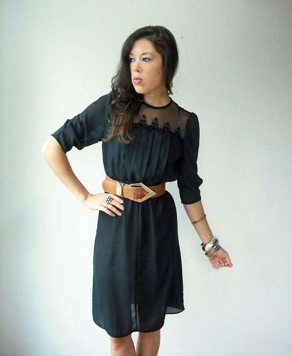 Vintage 80's Semi Sheer Black Pleated Bust Sheer Crochet Neckline Midi Dress