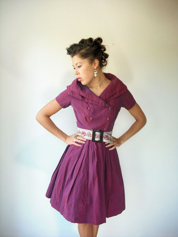 1950's 50's Vintage Deep Plum Navy Polka Dot Military Double Breasted Full Skirt Double Collar Party Dress