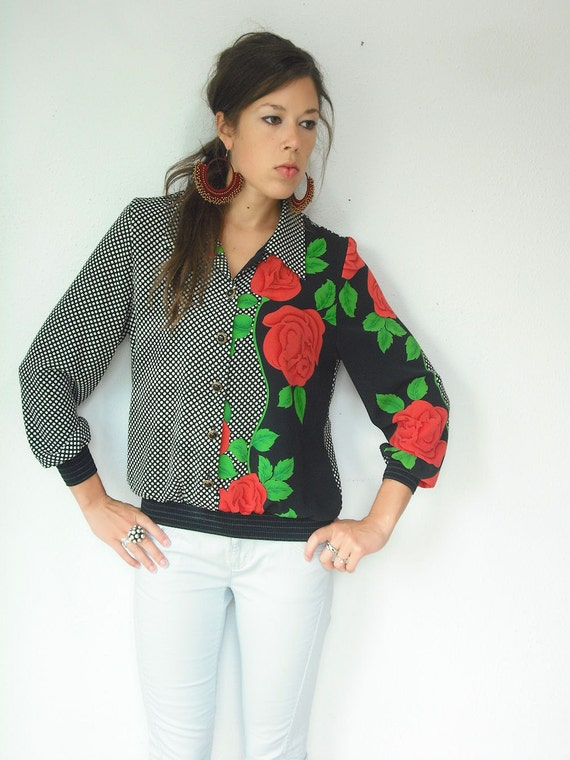Vintage 70's Black and White OP ART Blouse / Abstract Polka Dot Coral Rose Print / Smocked Blouse