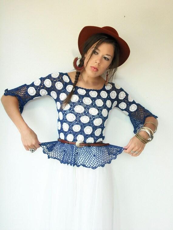 Vintage 70's Sheer COBALT and White Floral Polka Dot Angel Sleeve Peplum Fishnet Crochet Blouse