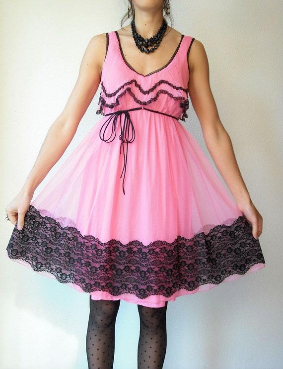r e s e r v e d....60's Barbie Pink Cupcake Black Lace Ruffle Bust Vintage Slip Dress