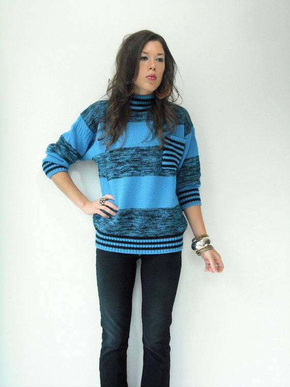 80's Vintage Sky Blue and Black SPACE DYE Stripe Slouch Knit Sweater