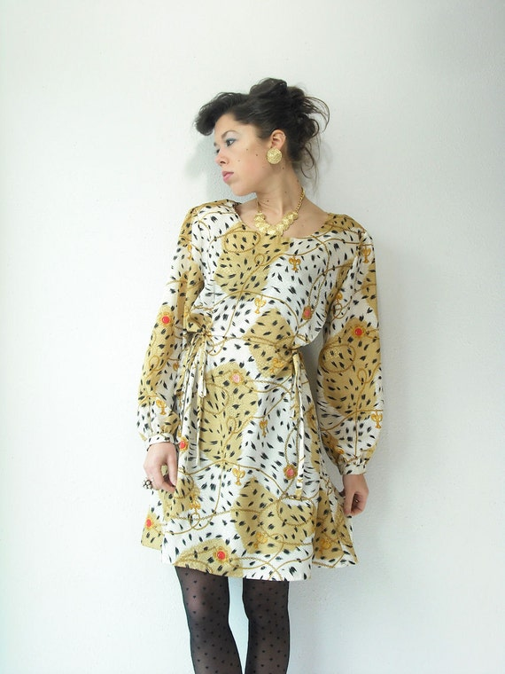 80's Vintage LEOPARD Dress Glam Gold and Cream Animal Print with Chain Gem Print Large