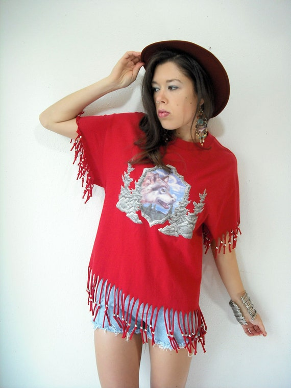 80's Vintage Red WOLF PRINT Beaded Fringe Navajo T Shirt