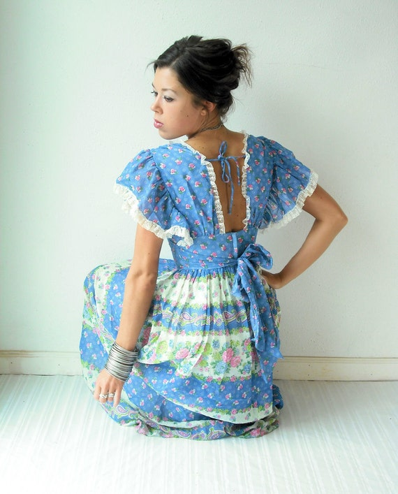 Vintage 70's Paisley Floral Scarf Print Flutter Sleeve Gauze Lace Empire Waist Maxi Backless Dress