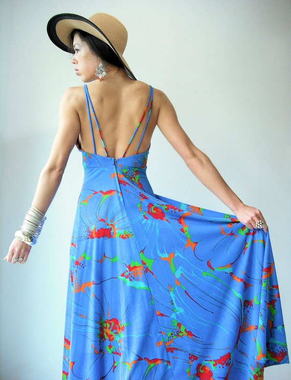 70's Vintage Backless Abstract Paint Splatter Sea Blue Draped Maxi Dress / Matching Cape