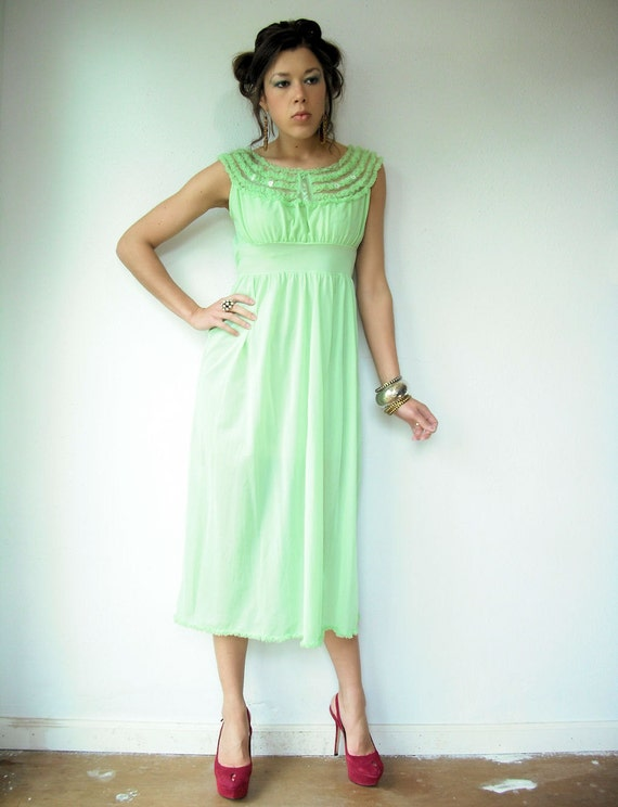 50's Semi Sheer Mint Green Apple Vintage Slip Dress with Ruffle Origami Neckline and Embroidered Flower Appliques