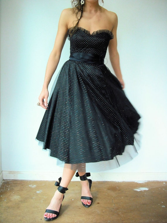 Vintage 80's Gunne Sax Black Sparkly Polka Dot Strapless Tulle Dress with Sweetheart Ruffle Bust and Ribbon Tie