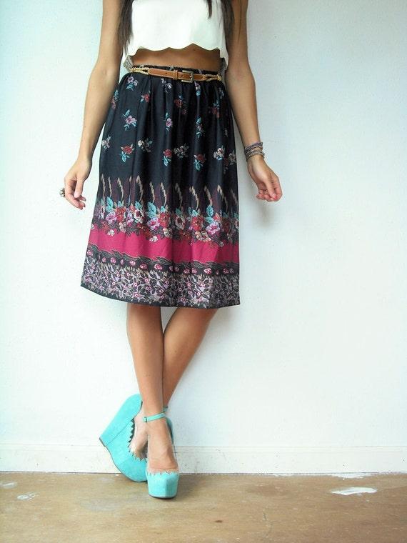 80's Vintage Semi Sheer Floral Print Stripe SCARF High Waist Skirt