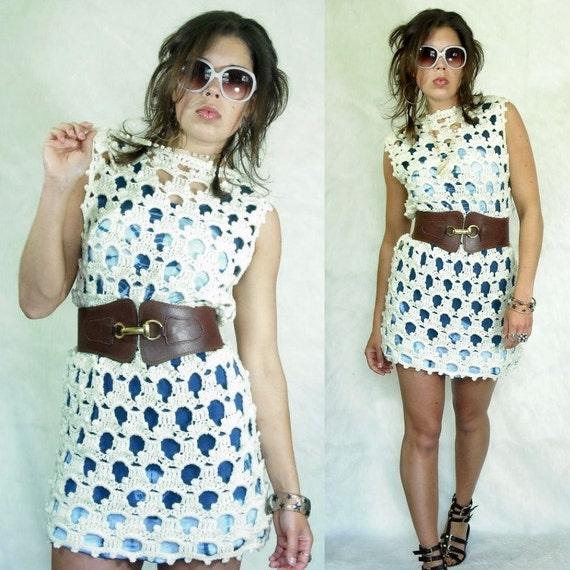 70's Crochet POM POM Convertible Mini Dress Gilet Vest