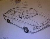stylized line drawing of vintage car (NSU 1000)