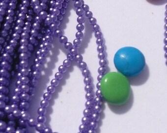 One Strand 3.5mm Dark Lavender Vintage Faux Pearls Lot 003