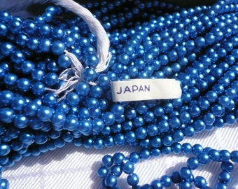 Vintage Japanses Navy Blue Faux Pearls  3.5 mm  lot0809020