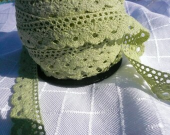 Light  Green Cotton Lace  2 yards