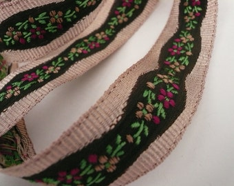 Floral Embroidered Brown and Beige Grosgrain and Satin Ribbon 2 Yards