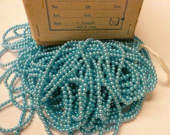 Vintage 3.5mm Medium Blue  Faux Pearls Lot 005