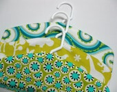 fabric covered hangers children's set of three aqua lime yellow zoo print