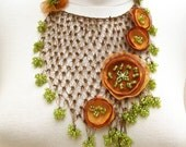 Bib Style Necklace with  Crochet Lace and Poppy Blossoms (OOAK)
